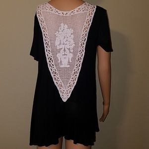 Ginger G black top with crochet back size S-M